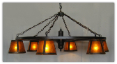 Wagon Wheel Indoor/Outdoor Chandelier With Mica Light Shades