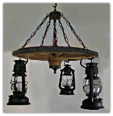 Wagon Wheel Indoor/Outdoor Chandelier Vertical Lanterns
