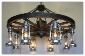 Wagon Wheel Indoor/Outdoor Chandelier Vertical 8 Lanterns