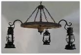 Wagon Wheel Indoor/Outdoor Chandelier 3 Horizontal Bracket