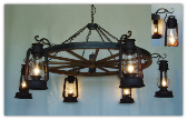 Wagon Wheel Indoor/Outdoor Chandelier 6 Horizontal Bracket