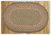 Braided Rug Oval Green Burgundy