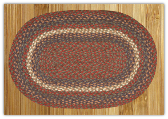 Braided Rug Oval Burgundy Gray