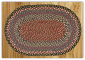 Braided Rug Oval Burgundy Blue Gray