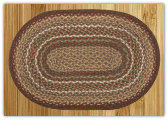 Braided Rug Oval Burgundy Ivory