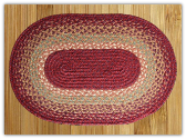 Braided Rug Oval Burgundy Maroon Sunflower