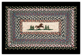 Braided Rug Horse in Pine Trees Rectangle