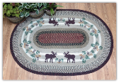 Moose Pinecone 4X6 Braided Rug
