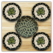 SHAMROCK DRINK COASTERS-Set of 4 with Basket Holder