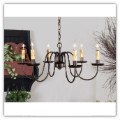 Sheraton Wrought Iron Chandelier- 6 Arms