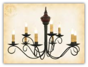 Washington 2 tier Wrought Iron Chandelier with Wooden top